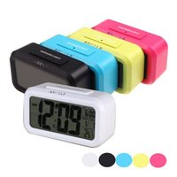 Wholesale Time Date Temperature Led Clock - LED Alarm Clock Digital Backlight Time Date Temperature Display Red Green Blue Black Repeating Snooze Light-activated Sensor