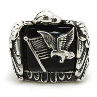 ingrosso anello dell'aquila dell'acciaio inossidabile 316l-Acciaio inossidabile 316L Flying Eagle Flag Anello Band Party Fashion Jewelry Mens Band Partito Cool Design Biker Flying Eagle Ring