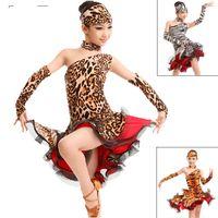 Wholesale Dress Tiger For Women - Latin Dance Dress For Girls Tiger Leopard Zebra Child Regatas Femininas Cha Cha Samba Rumba Ballroom Dresses For Dancing DQ4069