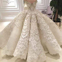 Wholesale Vintage Bridal Photos - Luxury Ball Gown Wedding Dress Off the Shoulder Sparkly Crystals Beads Sequins Lace Appliques Luxurious Bridal Gowns with Long Train