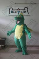 Wholesale Dragon Head Costume - POLE STAR MASCOT COSTUMES popular yellow wing dinosaur mascot costumes green fur dragon costumes EVA head with fan and helmet