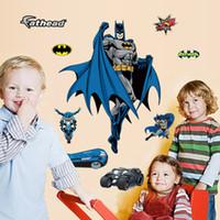 ingrosso batman arte-2015 ZooYoo Batman fumetto Wall Stickers camera dei bambini nursery wall stickers Rimovibile impermeabile Nursery Loving Regalo Home Decor Art
