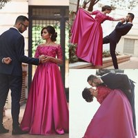 Wholesale Prom Dress Long Arms - Red Flowers Prom Dress Off Shoulder Neckline Long Sleeve Evening Dresses Sheer Arm Floor Length Party Gowns