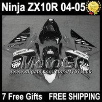 Wholesale Kawasaki Ninja White Grey - Grey white black 7gifts Customized For KAWASAKI NINJA ZX 10 R 2004-2005 G19300 NEW Grey ZX 10R 2004 2005 ZX-10R ZX10R 04 05 ABS Fairing