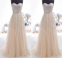 Wholesale Cheap Formal Dresses Bling - 2015 Cheap Prom Dresses Champagne Sweetheart Lace Up Bling Sequins In Stock Formal Party Queen Lilac Coral Bridesmaid Dresses Evening Gowns
