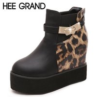 Atacado- HEE GRAND Sexy Leopard Women Botas PU Leather Platform Ankle Boots Nova Primavera Outono Creepers Casual Ladies Shoes Mulher XWX3410
