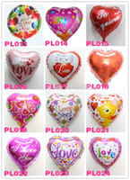 Wholesale i balloons - Wholesale-40pcs lot I LOVE YOU helium balloons for wedding party 18inch heart four designs mylar ballons hot selling