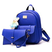 Wholesale ladies book bags - PU Women Backpack Leather big girl student book bag with purse 2pcs set bag high quality ladies school bags for teenager