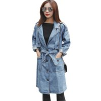 Neue, Qualitativ hochwertige Frühling Herbst Casual Frauen Lange Trenchcoat Volle Hülse Roll Up jeans Mantel Weibliche Zerrissene Denim Graben Oberbekleidung