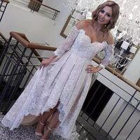 Wholesale Summer Retro Wedding Dress - Retro Lace High Low Wedding Dresses 2018 Off The Shoulder Long Sleeves Bridal Gowns Low Back Beach Wedding Vestidos Cheap Custom Made