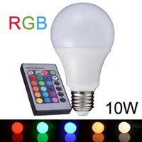 Wholesale Lampe E27 - NEW E27 10W RGB LED Lamp 110V 220V 16 Color Change RGB LED Bulb Light Lampe Remote Control RGB Lampara Bombillas LED A65