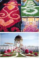 Wholesale Lavender Confetti Wedding Tables - Top quality 1000pcs Silk Rose Flower Petals Leaves Wedding Decorations Party Festival Table Confetti Decor 11 colors