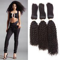 brezilya kıvırcık saç paketleri toptan satış-Kinky Kıvırcık Örgü Saç 3 Demetleri Brezilyalı Bakire Saç 120 g / adet Örgü İnsan Saç Dokuma Jerry Curl Işlenmemiş Örgü Uzantıları Doğal