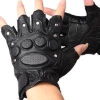 Wholesale Wholesale Fingerless Hip Hop Gloves - Wholesale-Rivet gloves genuine leather semi-finger gloves outdoor gloves genuine leather gloves sports fitness hip-hop