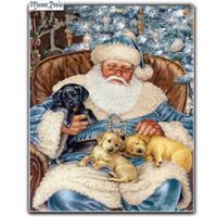 Wholesale 3d Kit Decorations - MOONCRESIN 3D Diy Diamond Embroidery Christmas Santa Claus Dog Diamond Mosaic Full Diamond Painting Cross Stitch Decoration Kits