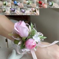 corsages poignets violets achat en gros de-Corsage de poignet de mariage ou de bal d'étudiants, 10colors, Rose de soie et rubans, blanc, bleu, champagne, rouge, violet, rose, 6pcs / lot