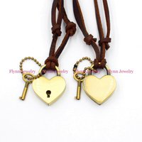 Wholesale Tennis Accessories China Wholesale - Love of Lock Accessories Metal Pendant Amulet Adjustable Leather Necklace Punk Cowboy Decorations Gift 10pcs lot