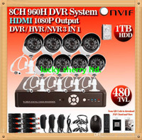 Wholesale Dvr Kit 1tb - CIA- HD CCTV Cameras system 8ch 960h dvr nvr hvr security camera outdoor dvr kit system with 1tb hdd hdmi 1080p wifi 3G WIFI