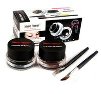 Fiore musicale Nero + marrone Eyeliner Gel Eyeliner-Proof Acqua Eyeliner Cosmetic + Brush DHL
