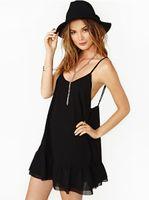 Wholesale Shirred Dress Straps - Europe and America women's fashion flounced hem sleeveless round neck chiffon shirred halter strap dress