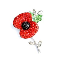 Wholesale Flower Memorial - Silver Tone Sparkly Red Crystal Pretty Poppy Flower Pin Brooch Memorial Day Poppy Brooches Royal British Legion Poppy Flower Pins Badge