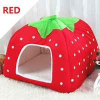 Vendita calda XXL Inverno Caldo Morbido Indoor Dog House Strawberry Letto Pet Dog Cat Bed House Kennel Doggy Warm Cushion