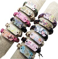Wholesale Tin Models Wholesale - leather bracelet 12pcs lot Mix model Wholesale free shipping many color leather rope weaving Chinese style bracelet butterfly peace bracelet