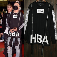 Wholesale Hba Mens Clothing - HBA Fashoin Hip Hop Streetwear Clothing Womens Mens Hood by Air Long Sleeve Side Zipper T Shirt Effect Bone Black Shirt Top Men
