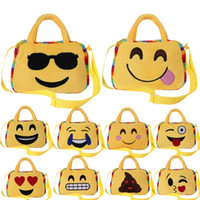 Wholesale Kindergarten Gifts Girl - Cute Emoji Bags Cartoon Kids Bag Face Expression Kid Shoulder School Bag Kindergarten Plush Toy Xmas Gift Handbag Lovely Doll handbags