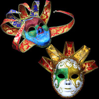 Wholesale Bell Full Face - Italy Venetian Masquerade Mask Bright Color Full Face 5 Horn 7 Horn Cosplay Mask with Bells Halloween Party Dancing Costume Accessories
