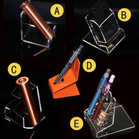 Wholesale tank stands e cig for sale - Group buy acrylic e cig display showcase ecig mod stands clear show case shelf holder rack for ego evod electronic cigarette kit box mods tank