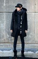 Wholesale Korean Style Mens Winter Coats - Fall-2015 Winter Mens Long Woolen Trench Coat Male Hooded Jacket Coat Korean Style For Men Warm Overcoat Plus Size