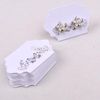Wholesale Wholesale Card Displays - 1000pcs lot New 3*5cm Thick White Paper Jewelry Earring cards Earring Packing Display cards printed flowers,custom earring cards