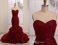Wholesale Design Strapless Satin Wedding - Design Fashion Dark Red Sweetheart Neckline Mermaid Wedding Dresses With Silk Sash Cascading Ruffle Train Exquisite Bridal Gowns Sleeveless