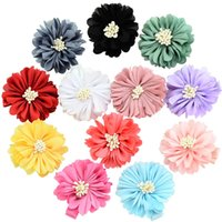 Wholesale peony clip flowers for sale - Infants Peony Hairpins Accessories Pretty Baby Barrettes Children Satin Flowers With Clip Kids Handmade Boutique Hair Clips
