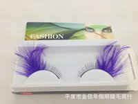 Wholesale Eye Lashes Sale Price - Wholesale-Hot sale feather false eyelashes wholesale price stage makeup purple feather fake eye lashes lash eyelash #Y40