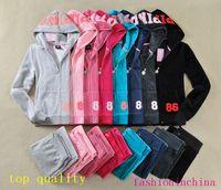 Wholesale Long Sleeve Velour Tracksuits Women - Ladies Sweatsuits Long Sleeve Zipper Jogging Velour Tracksuits Pink Sweat Suits Hoodies Suits Sportswear 2016 Sports Set Free Shipping
