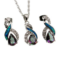 Wholesale Fire Opal Necklace Sterling - 925 Sterling Silver Jewelry Sets Natural Opal Genuine Fire Mystic Topaz 8 Design Pendant Necklace Earring Christmas Gifts OPJS5