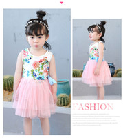Wholesale Mini Wedding Dresses Bow - Girls floral tutu dress summer Children baby kids tulle wholesale 1-5 yrs wedding party tulle clothes 5BB406DS-93 ElevenStory_DH