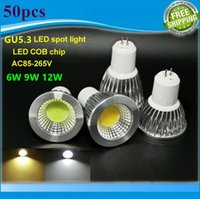 Wholesale Mr16 12w Fedex - DHL FedEX New High Power Lampada Led MR16 GU5.3 COB 6w 9w 12w Dimmable Led Cob Spotlight Warm Cool White MR 16 12V Bulb Lamp GU 5.3 220V