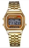 тонкие женские модные часы оптовых-Бесплатная доставка F-91W часы Модные ультратонкие светодиодные наручные часы F91W Мужчины Женщины Спортивные часы