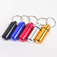 Wholesale Trendy Pill Boxes - key holder Aluminum Waterproof Pill Shaped Box Bottle Holder Container Keychain medicine Keyring keychain box