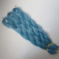 Wholesale senegalese braids online - Kanekalon Jumbo braids hair Extension Senegalese Twist inch Folded g LIGHT DENIM Single Color Xpression Synthetic braiding Hair T4127