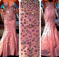 vestidos de fiesta totalmente moldeados al por mayor-Vestidos de fiesta fascinantes Cariño Totalmente con cuentas de cristal Corpiño Sirena Tren de barrido Satén Vestidos famosos Vestidos Vestido