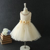 Wholesale Sleevless Wedding Dresses - Spring Kids Girls Lace Party Dresses 2018 Baby Girls Princess Floral Dress Babies Sleevless Wedding Dress Kids Clothing