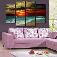 2016 New Hot 4 Piece Beach Sunset Painting Modern Abstract Oil Canvas Art Seascapes Wall Pictures Decoração Conjuntos Entrega Gratuita