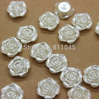 Wholesale Pearl Rose Flatback - Wholesale-Free shipping 500pcs lot 12mm flatback resin ABS rose flower pearl beads for scrapbooking,phone deco
