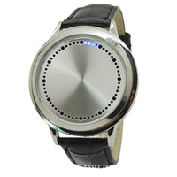 Wholesale binary black watches resale online - 2015 Fashion Casual Men and women couple Blue LED Binary Touch Screen Watch Genuine Leather Wrist Watch For Men Relogio Masculino watches