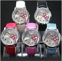 Wholesale Eyki Diamond - Luxury Crystal Diamond KITTY Cat Wristwatches children watch ladies Girls Quartz Watch with PU Leather Strap