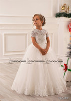 Wholesale tulle bridesmaid wedding dresses sleeves online - Lace Beaded Little Girls Pageant Dresses Wedding Party Holiday Bridesmaid Birthday Tulle Lace Ivory Flower Girl Dress